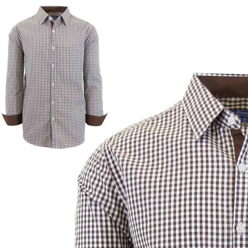 Men's Long Sleeve Slim Fit Gingham Dress Shirts-2X-Large-Gingham Brown-Daily Steals