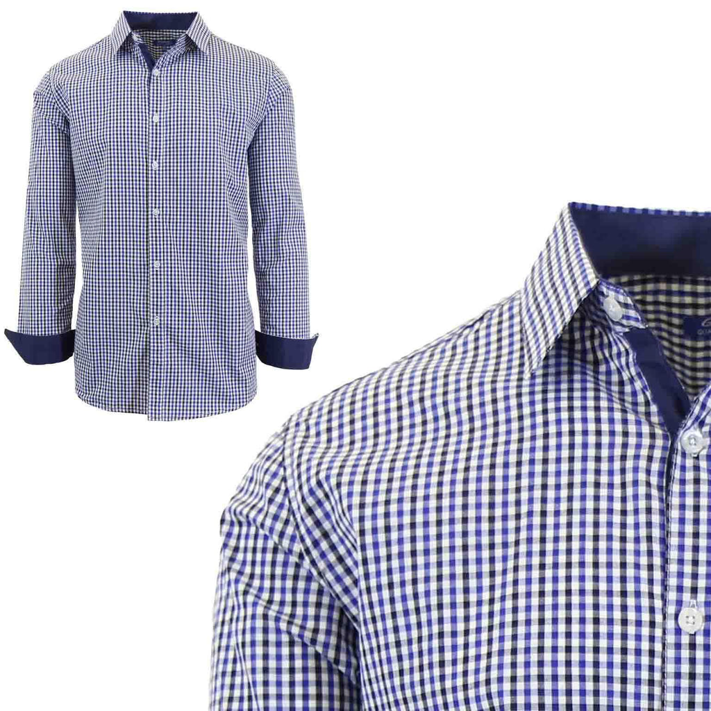 Men's Long Sleeve Slim Fit Gingham Dress Shirts-2X-Large-Checkered Blue/Black-Daily Steals