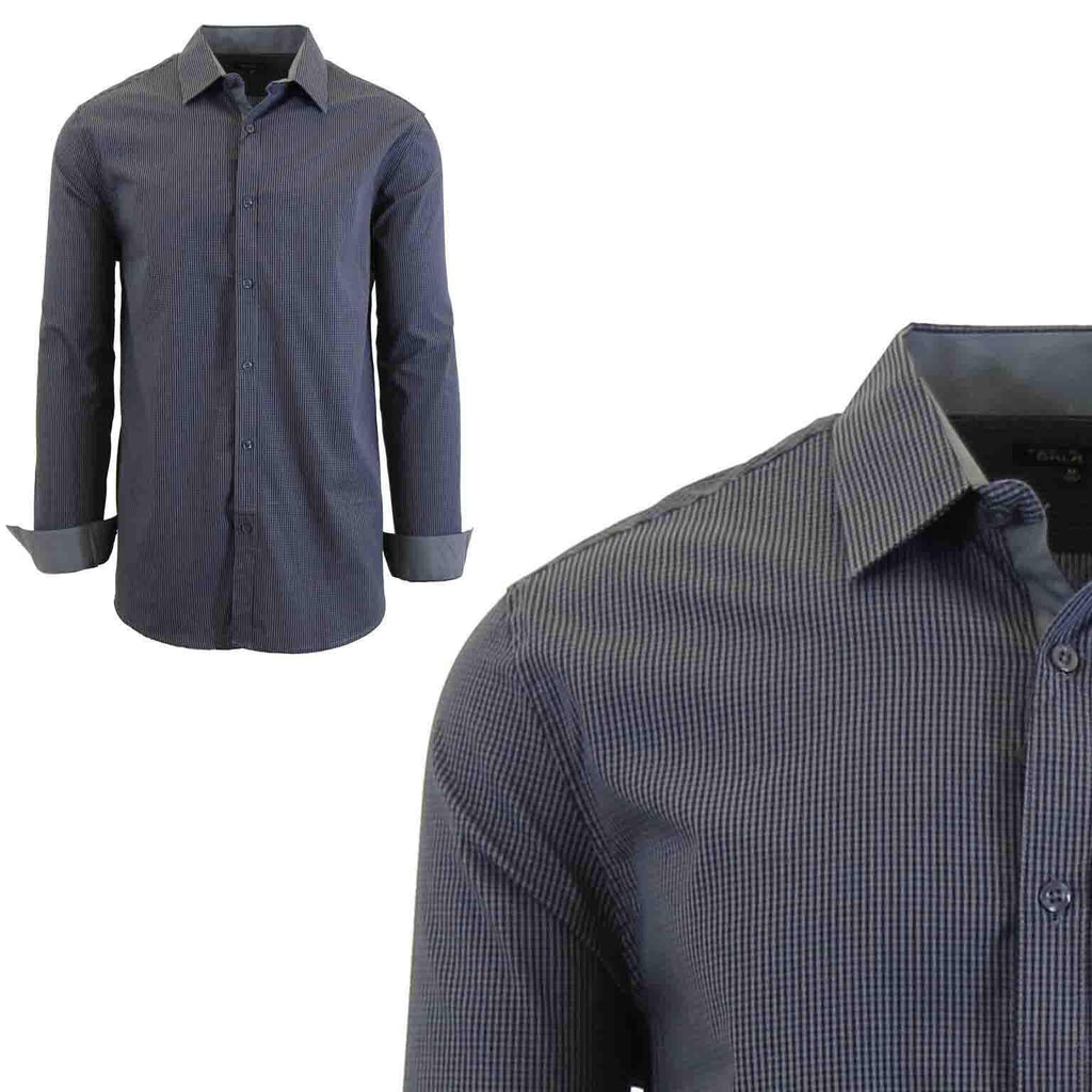 Men's Long Sleeve Slim Fit Gingham Dress Shirts-2X-Large-Checkered Grey/Black-Daily Steals