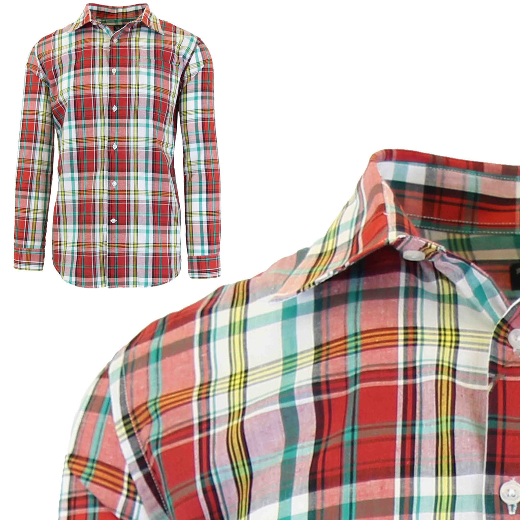 Men's Slim-Fit Plaid Dress Shirts With Chest Pocket-Red/Yellow-2X-Large-Daily Steals