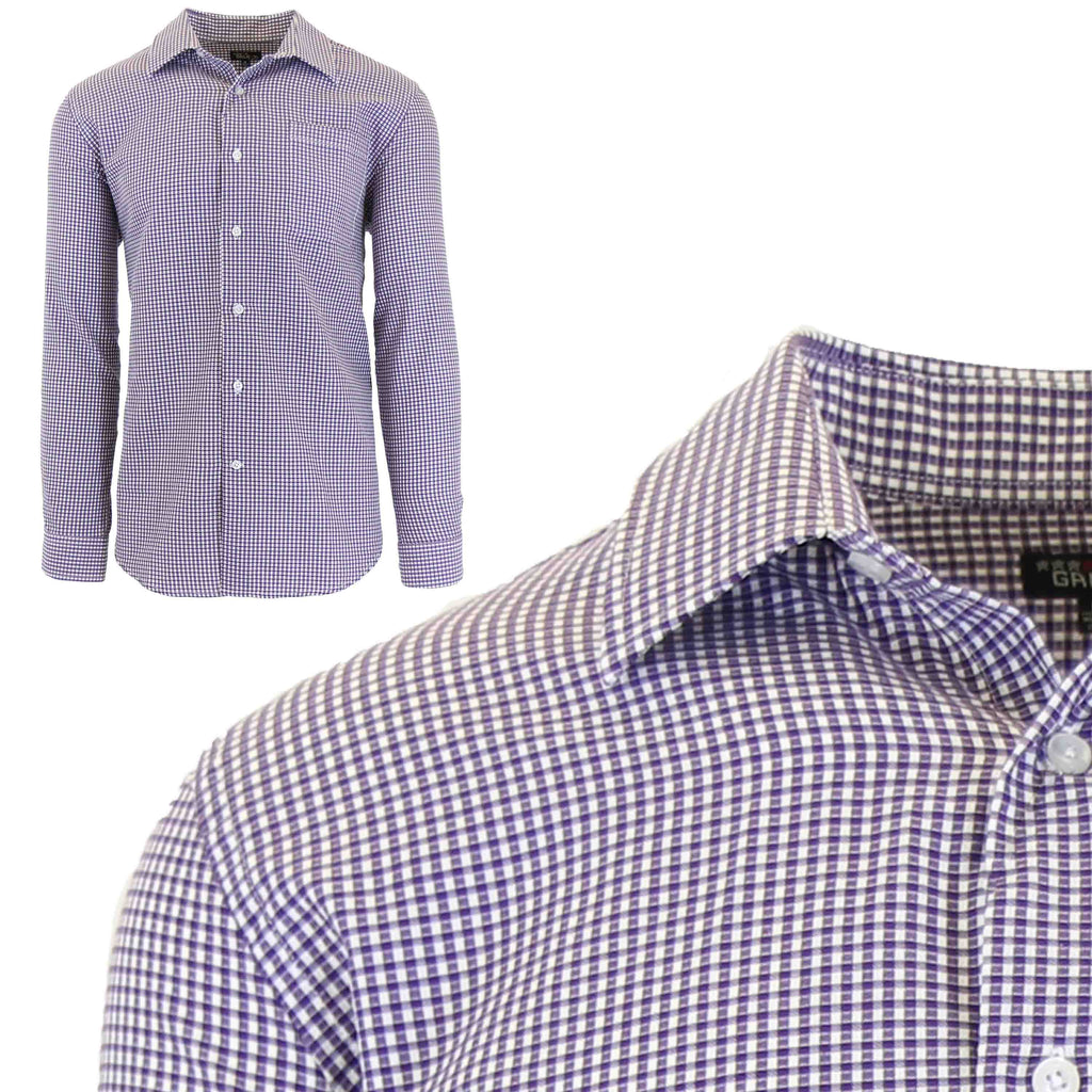 Men's Slim-Fit Plaid Dress Shirts With Chest Pocket-Purple/White-2X-Large-Daily Steals
