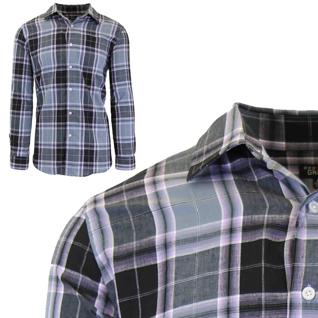 Men's Slim-Fit Plaid Dress Shirts With Chest Pocket-Black/Lavender-2X-Large-Daily Steals