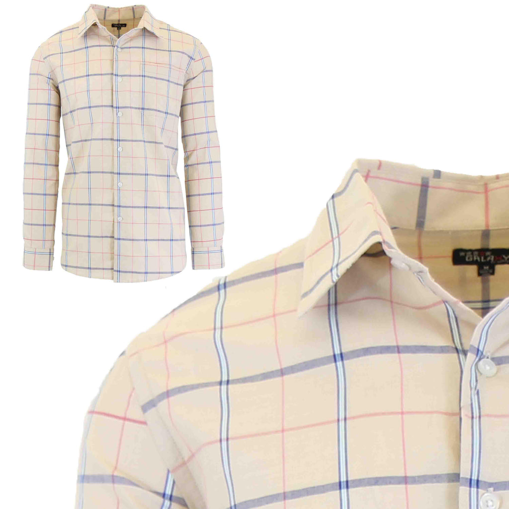 Men's Slim-Fit Plaid Dress Shirts With Chest Pocket-Oatmeal/Navy-2X-Large-Daily Steals