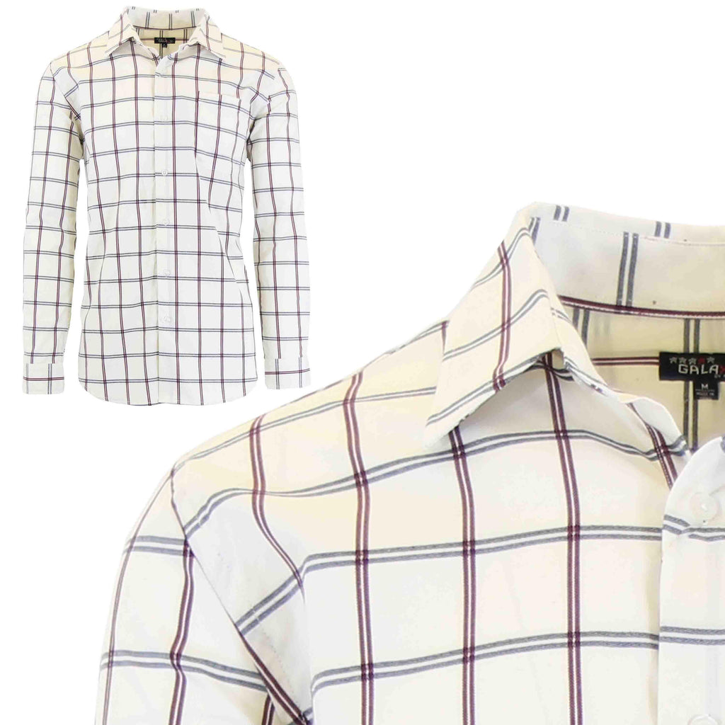 Men's Slim-Fit Plaid Dress Shirts With Chest Pocket-White/Burgundy-2X-Large-Daily Steals