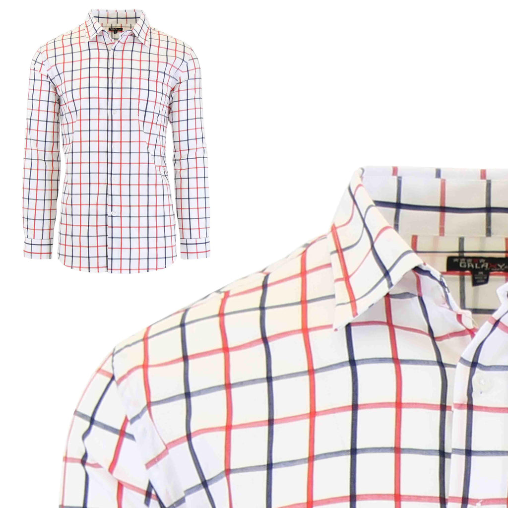 Men's Slim-Fit Plaid Dress Shirts With Chest Pocket-White/Red-2X-Large-Daily Steals