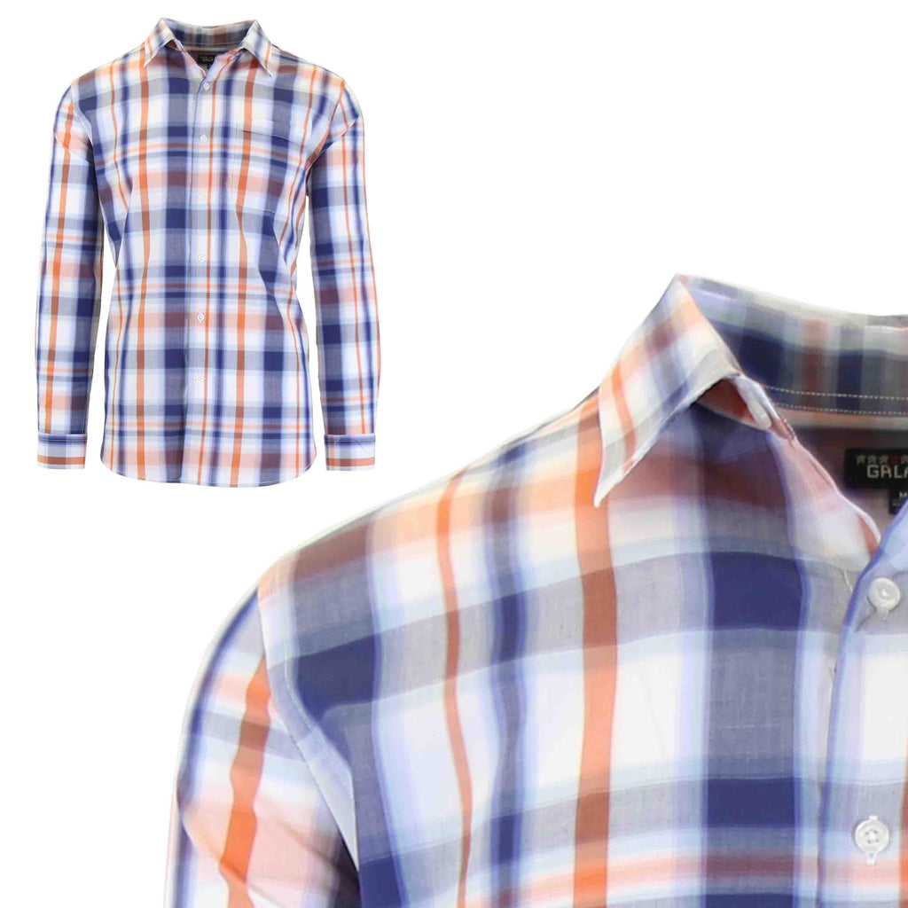 Men's Slim-Fit Plaid Dress Shirts With Chest Pocket-Blue/Orange-2X-Large-Daily Steals