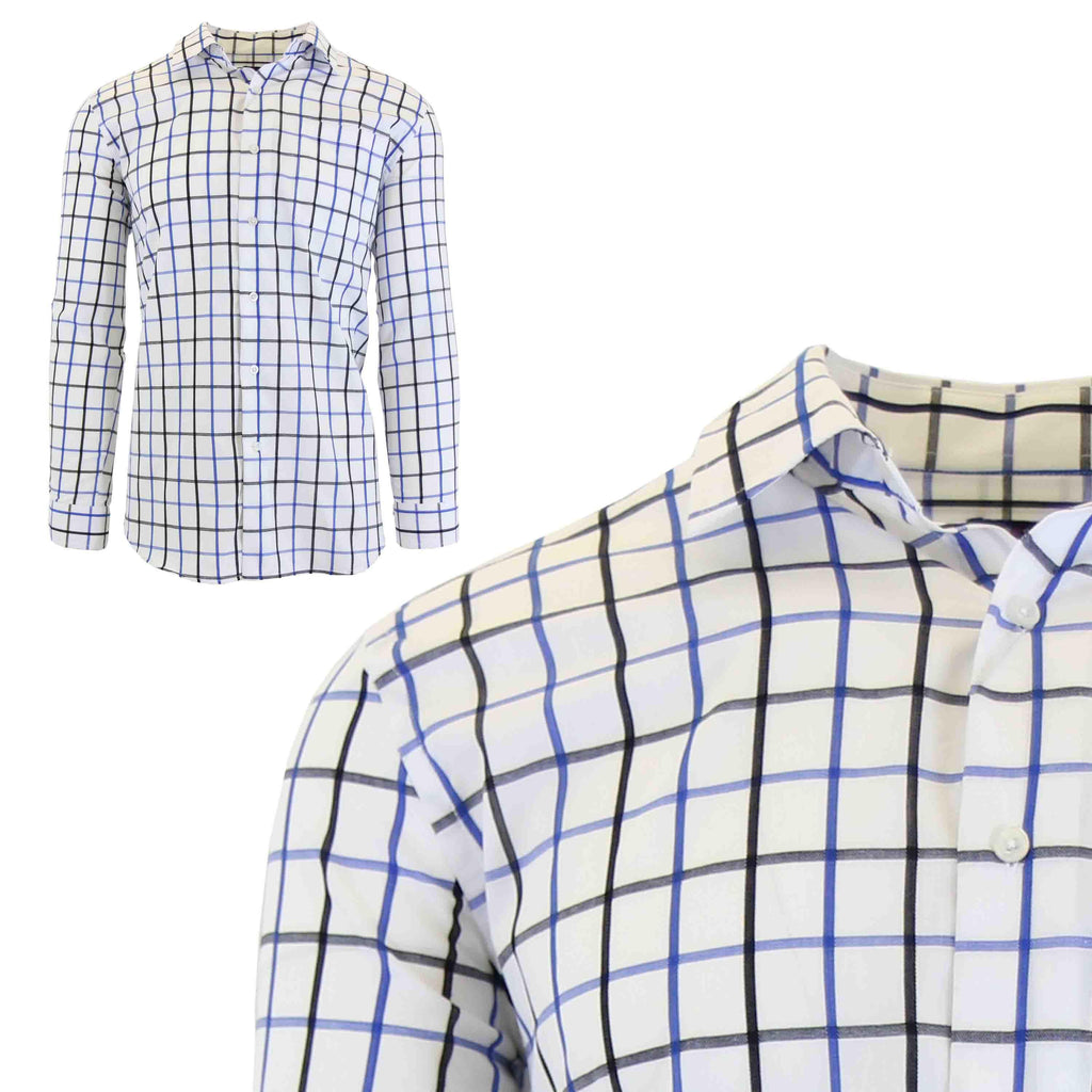 Men's Slim-Fit Plaid Dress Shirts With Chest Pocket-White/Royal-2X-Large-Daily Steals