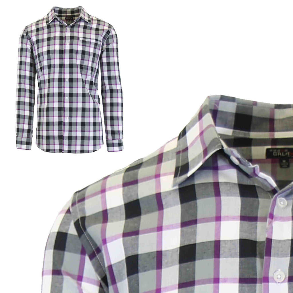 Men's Slim-Fit Plaid Dress Shirts With Chest Pocket-Black/Purple-2X-Large-Daily Steals