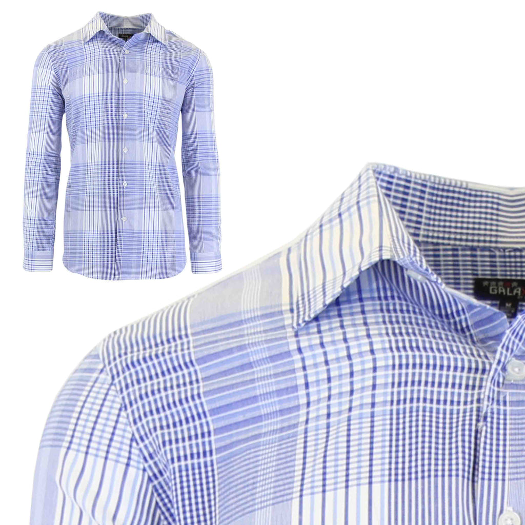 Men's Slim-Fit Plaid Dress Shirts With Chest Pocket-Blue/White-2X-Large-Daily Steals