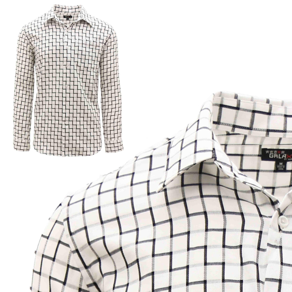 Men's Slim-Fit Plaid Dress Shirts With Chest Pocket-White/Black-2X-Large-Daily Steals