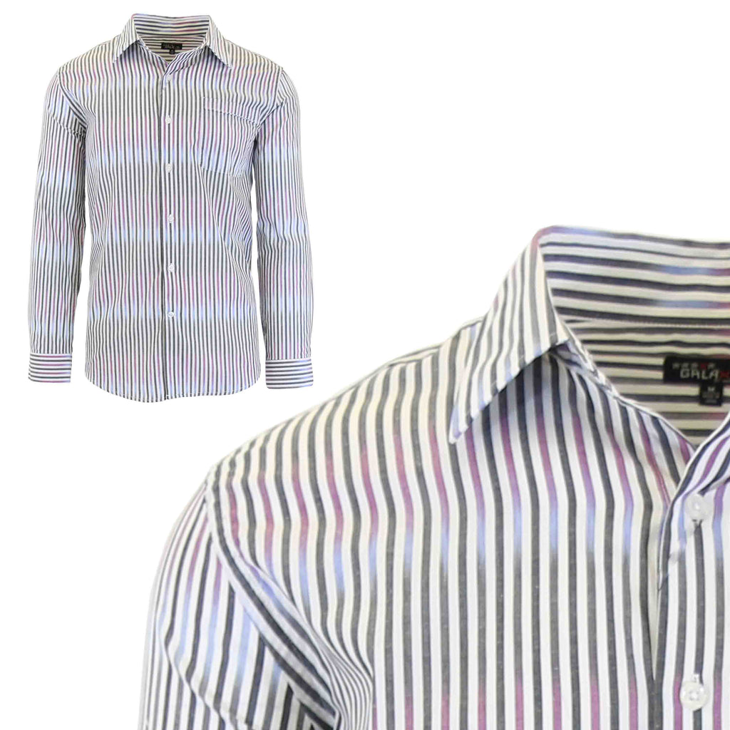 Men's Slim-Fit Plaid Dress Shirts With Chest Pocket-White/Purple-2X-Large-Daily Steals