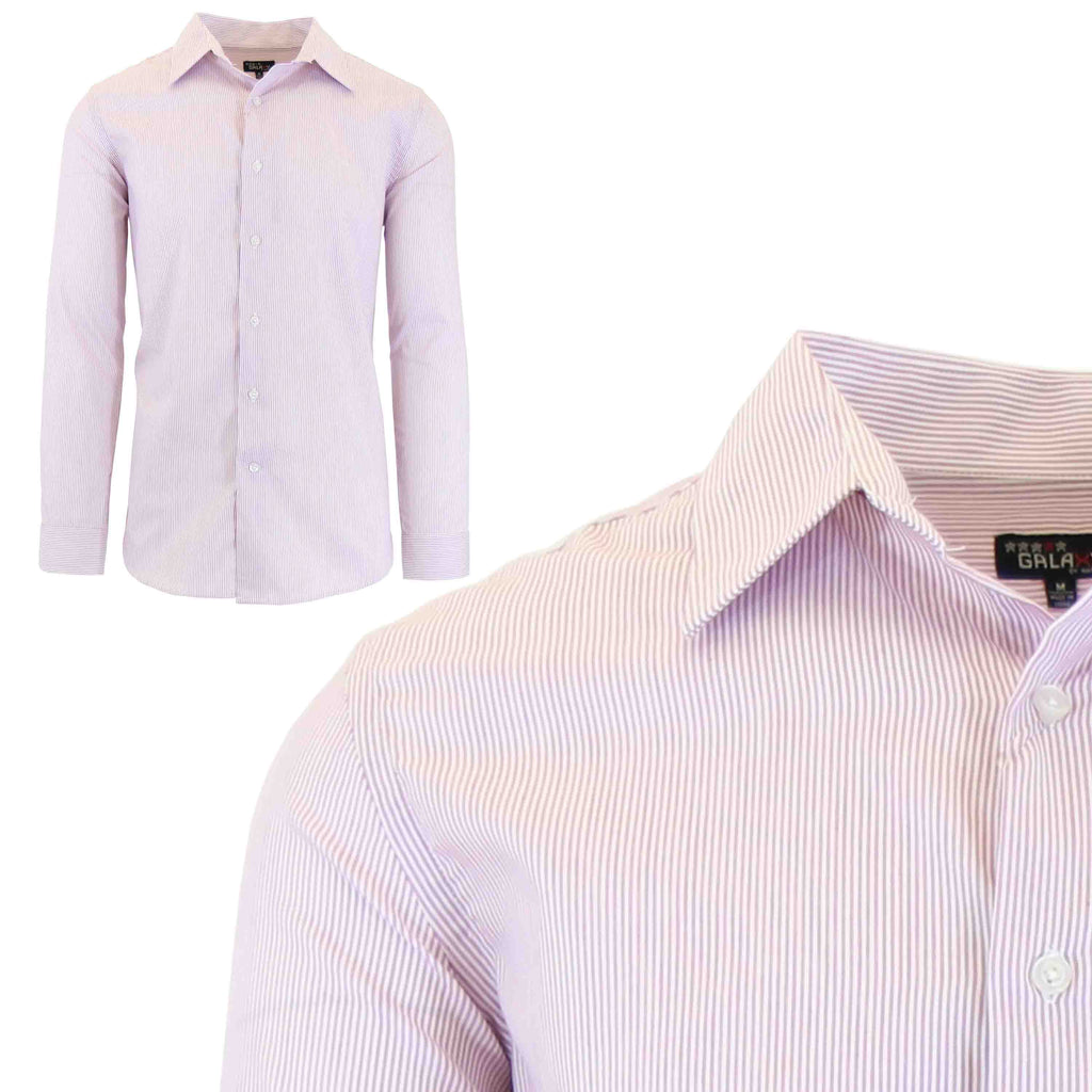 Men's Slim-Fit Plaid Dress Shirts With Chest Pocket-Pink/White-2X-Large-Daily Steals