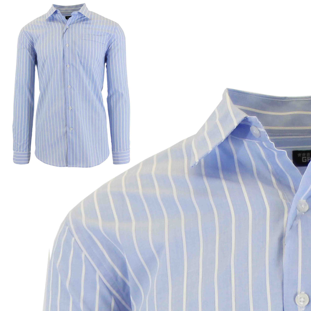 Men's Slim-Fit Plaid Dress Shirts With Chest Pocket-Light Blue/White-2X-Large-Daily Steals