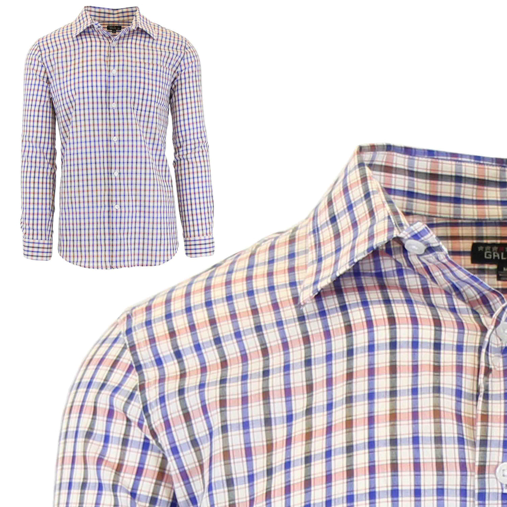 Men's Slim-Fit Plaid Dress Shirts With Chest Pocket-Blue/Salmon-2X-Large-Daily Steals