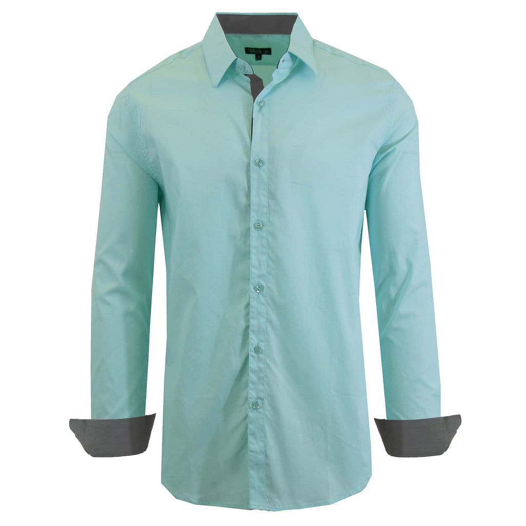 Daily Steals-Long Sleeve Dress Shirt For Men-Men's Apparel-Mint-3X-Large-