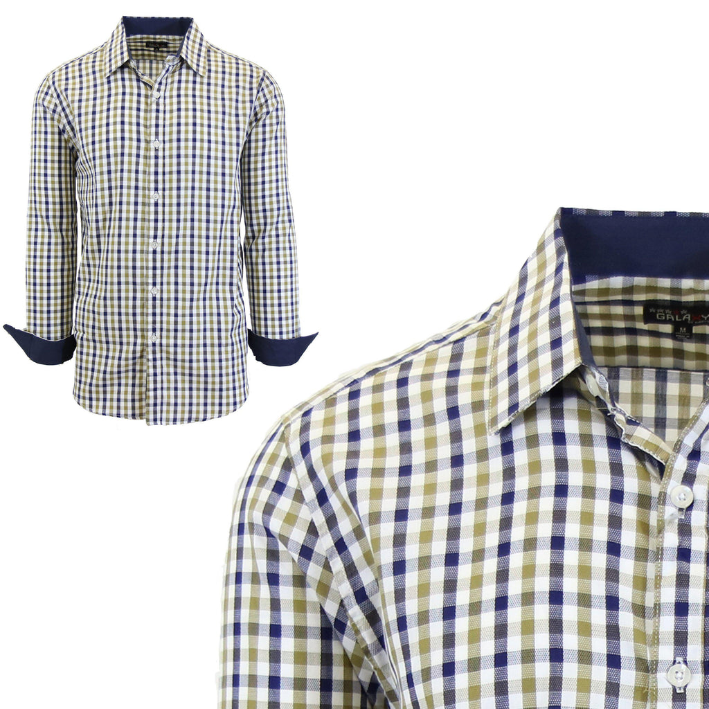 Mens Long Sleeve Gingham & Checkered Dress Shirts-Gold/Blue-Medium-Daily Steals