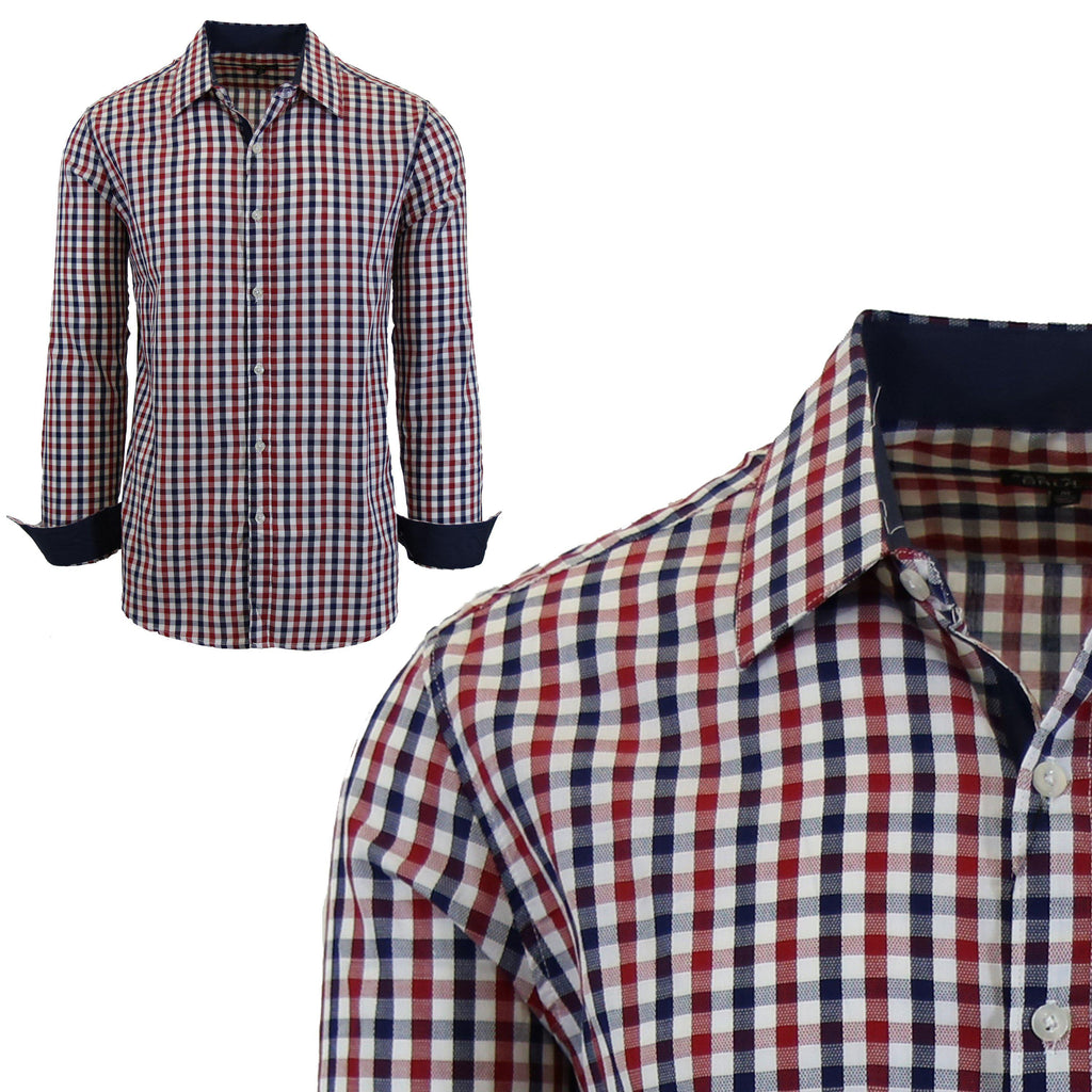 Mens Long Sleeve Gingham & Checkered Dress Shirts-Blue/Red-Medium-Daily Steals