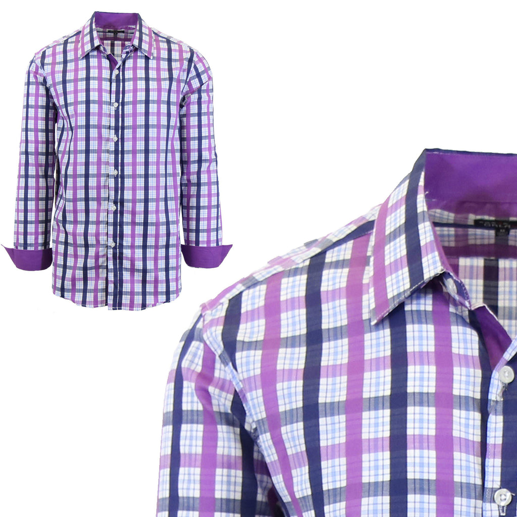 Men Long Sleeve Checkered & Pinstripe Dress Shirt