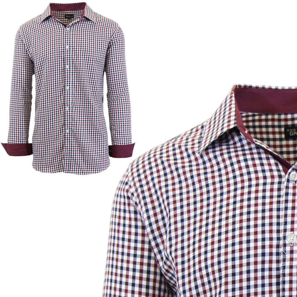 Mens Long Sleeve Gingham & Checkered Dress Shirts-Burgundy/Black-Small-Daily Steals