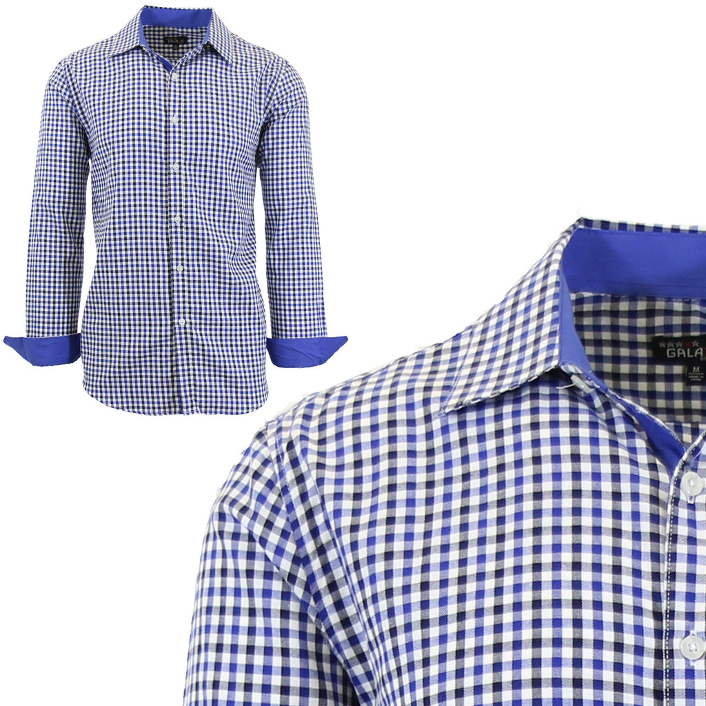 Mens Long Sleeve Gingham & Checkered Dress Shirts-Black/Blue-Medium-Daily Steals