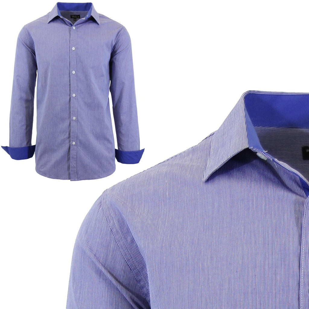 Men Long Sleeve Plain Dress Shirt-Navy-Small-Daily Steals