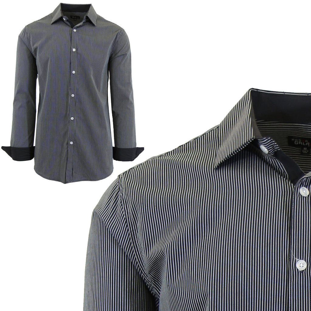 Men Long Sleeve Plain Dress Shirt-Black-Small-Daily Steals