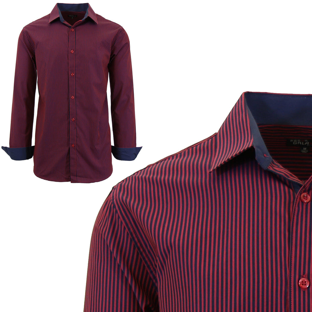 Men Long Sleeve Plain Dress Shirt-Red/Black-Small-Daily Steals