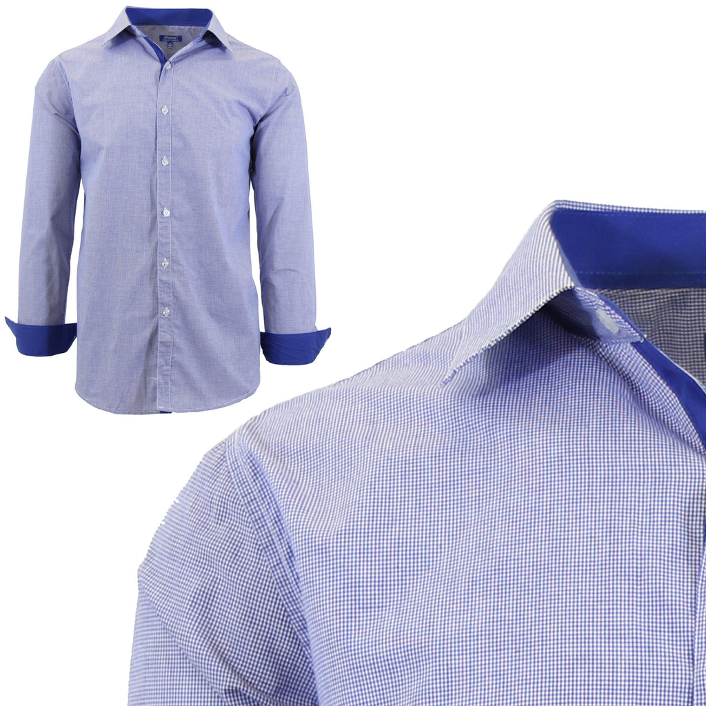 Men Long Sleeve Plain Dress Shirt-Royal-Small-Daily Steals