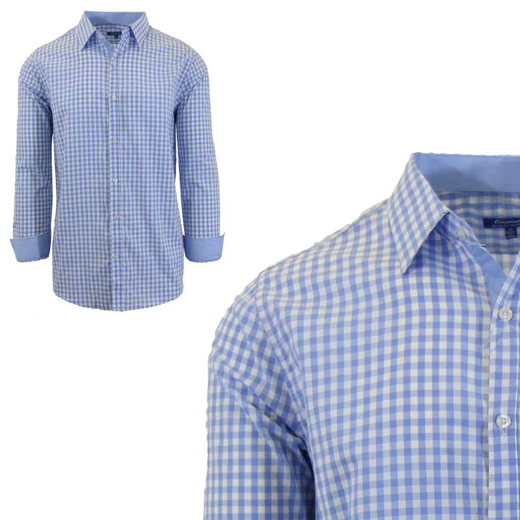 Mens Long Sleeve Gingham & Checkered Dress Shirts-Gingham Light Blue-Small-Daily Steals