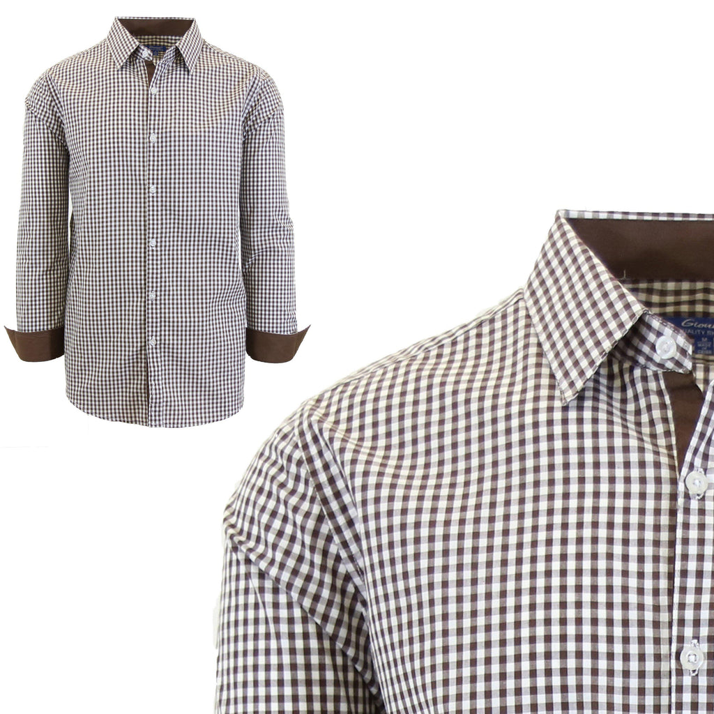 Mens Long Sleeve Gingham & Checkered Dress Shirts-Gingham Brown-Small-Daily Steals