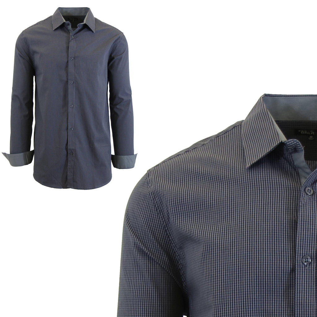 Men Long Sleeve Plain Dress Shirt-Grey/Black-Small-Daily Steals