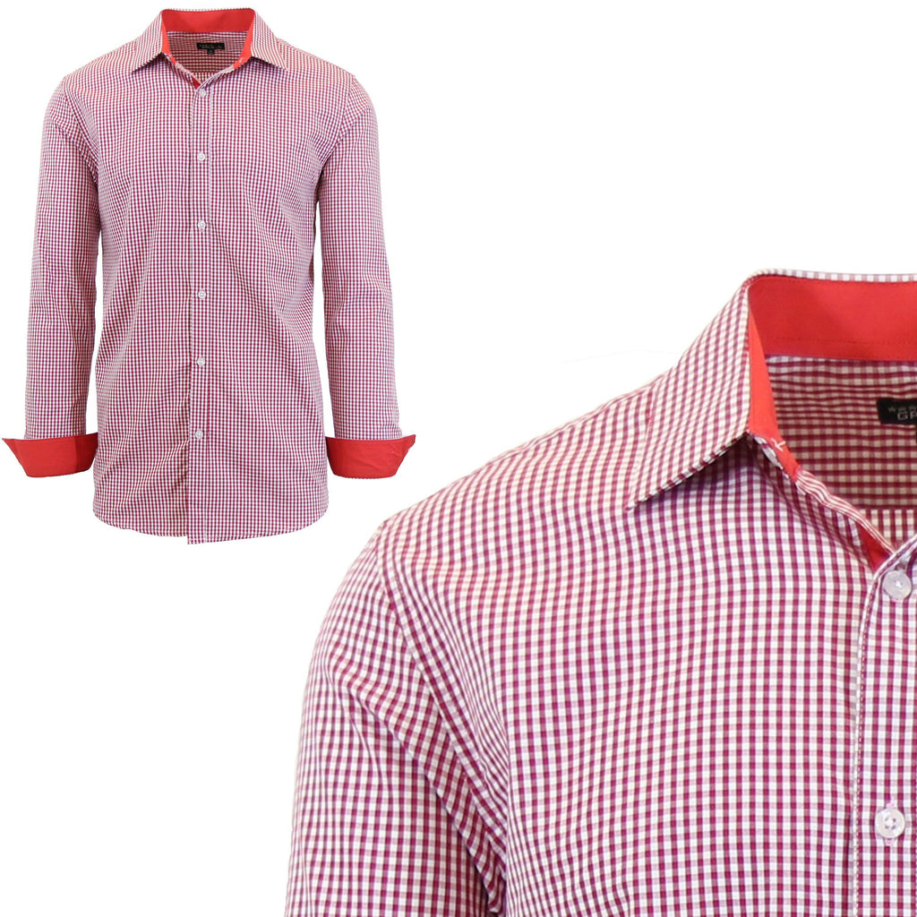 Mens Long Sleeve Gingham & Checkered Dress Shirts-Gingham Red-Small-Daily Steals