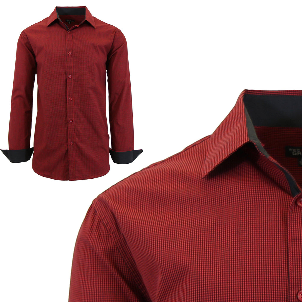 Men Long Sleeve Plain Dress Shirt-Red-Small-Daily Steals