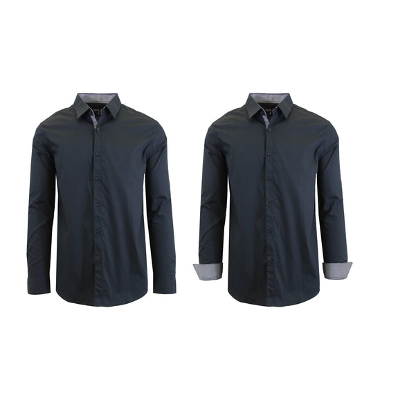 Mens Long Sleeve Solid Dress Shirt-Black-S-Daily Steals