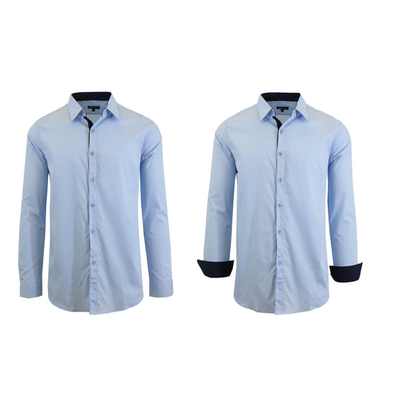 Mens Long Sleeve Solid Dress Shirt-Light Blue-S-Daily Steals