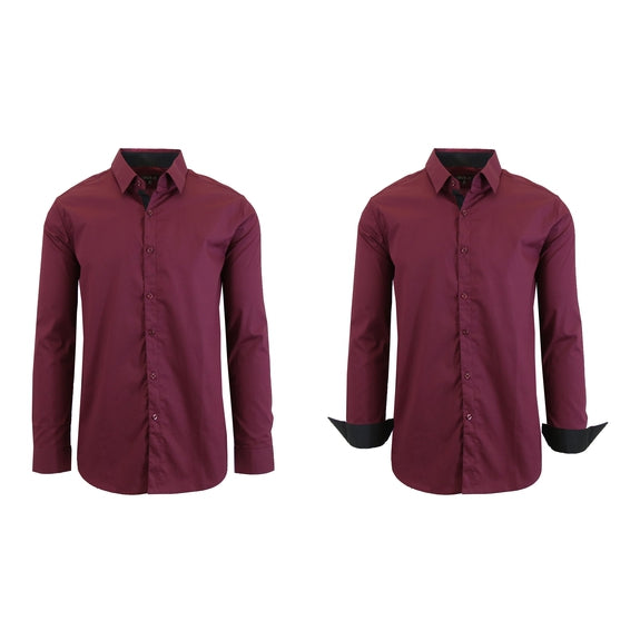 Mens Long Sleeve Solid Dress Shirt-Maroon-M-Daily Steals