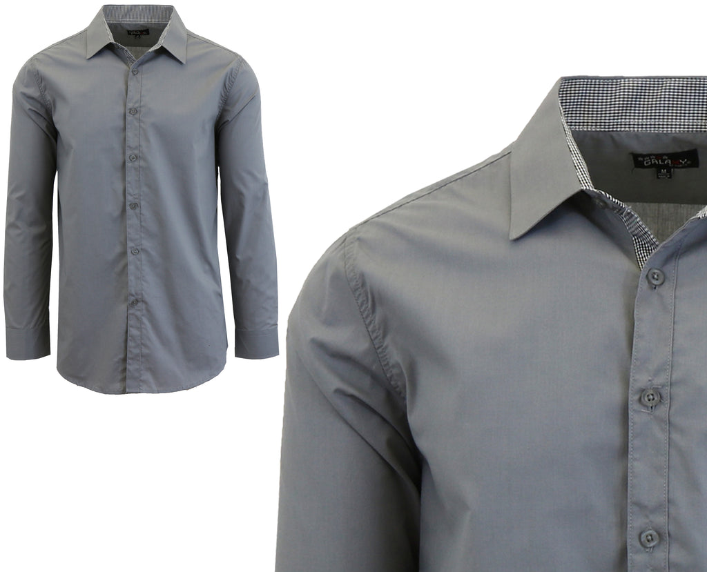 Daily Steals-Long Sleeve Dress Shirt For Men-Men's Apparel-Medium Grey-Small-