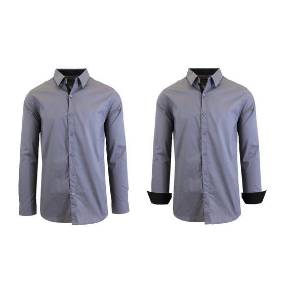 Mens Long Sleeve Solid Dress Shirt-Medium Grey-S-Daily Steals