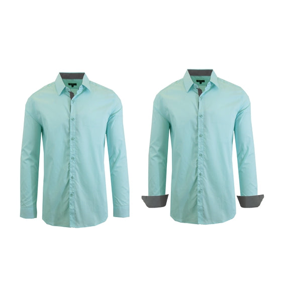 Mens Long Sleeve Solid Dress Shirt-Mint-M-Daily Steals