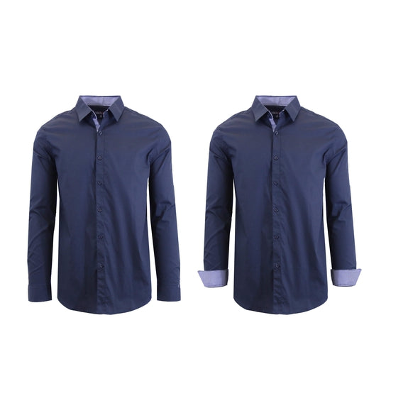 Mens Long Sleeve Solid Dress Shirt-Navy-S-Daily Steals