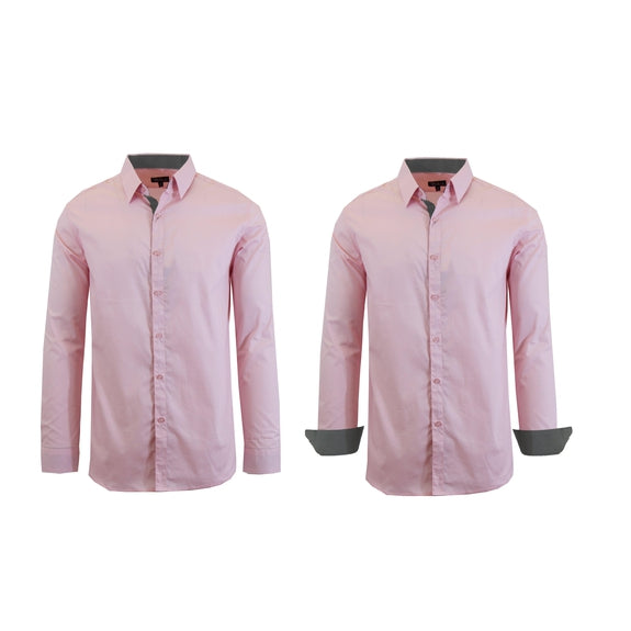 Mens Long Sleeve Solid Dress Shirt-Pink-M-Daily Steals