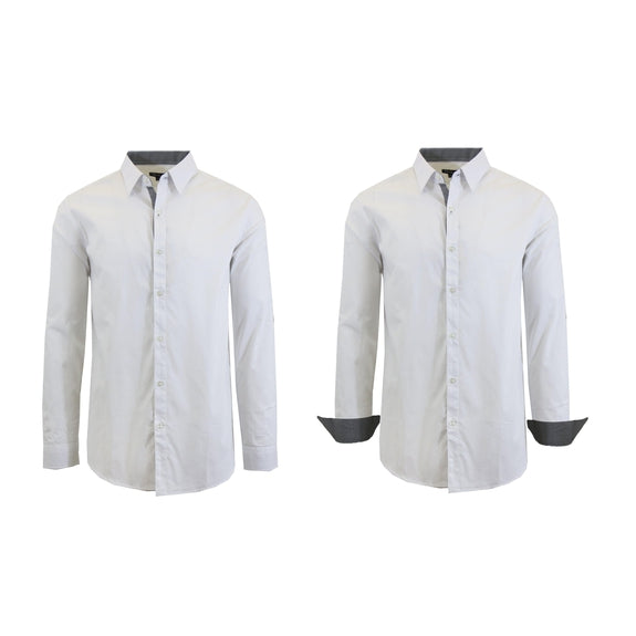 Mens Long Sleeve Solid Dress Shirt-White-S-Daily Steals