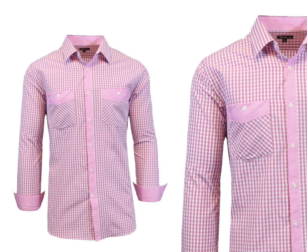 Daily Steals-Long Sleeve Dress Shirt For Men-Men's Apparel-Pink-White-Small-