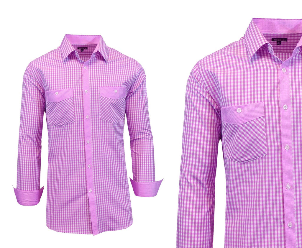 Daily Steals-Long Sleeve Dress Shirt For Men-Men's Apparel-Purple-White-Small-