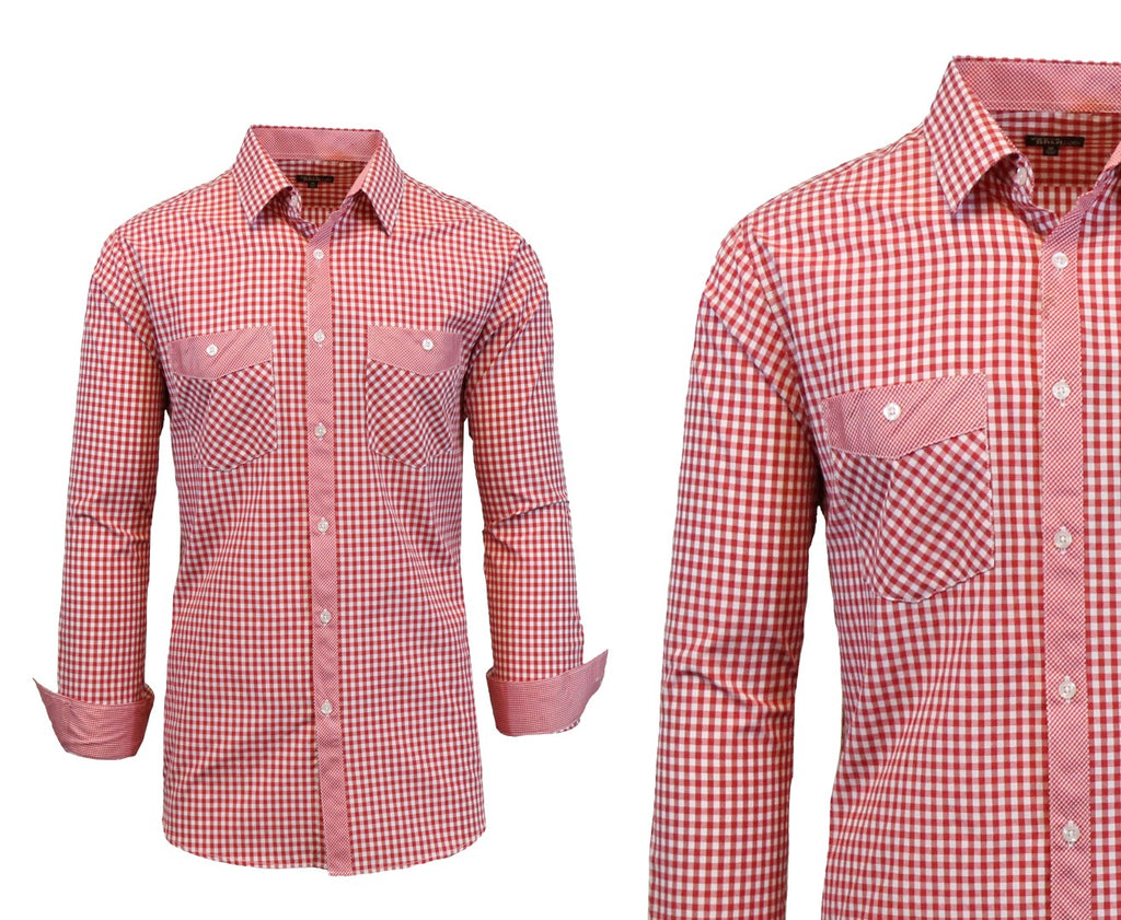 Daily Steals-Long Sleeve Dress Shirt For Men-Men's Apparel-Red-White-Medium-