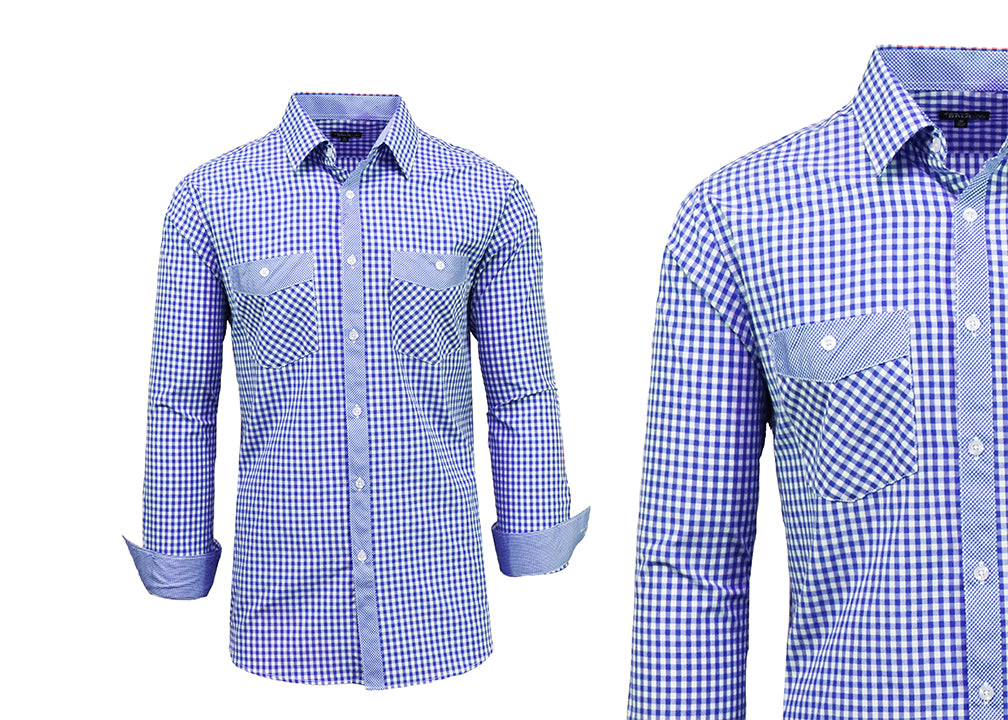Daily Steals-Long Sleeve Dress Shirt For Men-Men's Apparel-Royal-White-Medium-