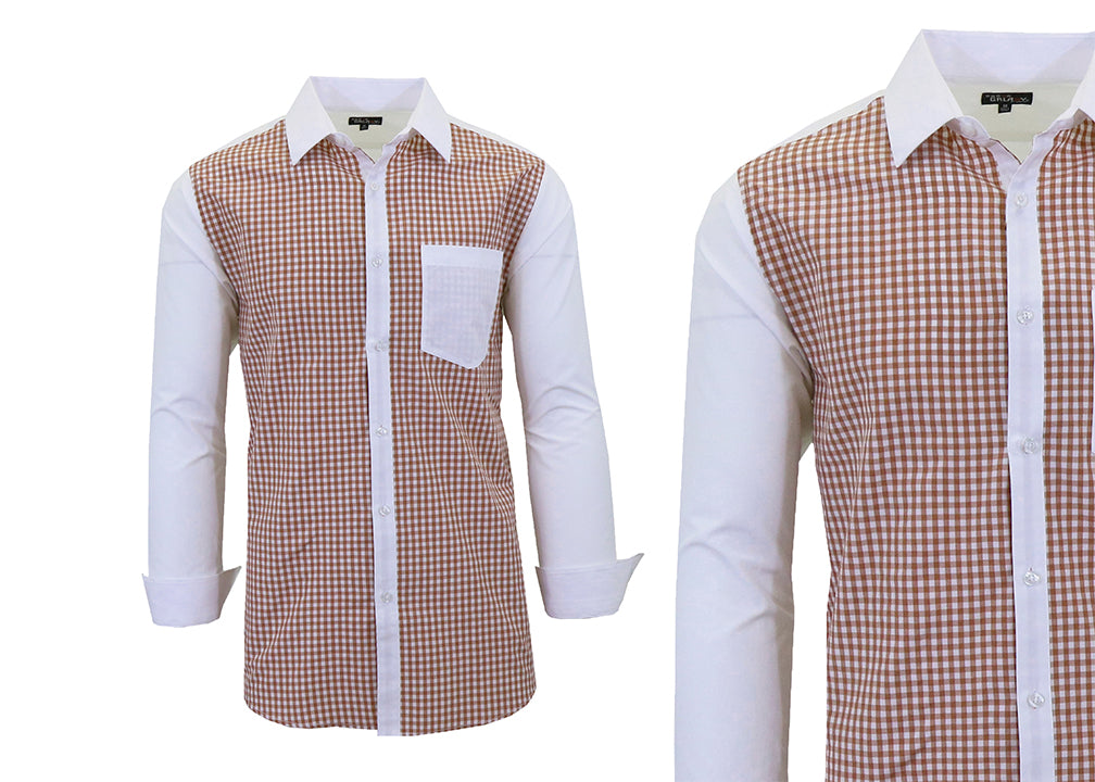 Daily Steals-Long Sleeve Dress Shirt For Men-Men's Apparel-Tan-White-Small-