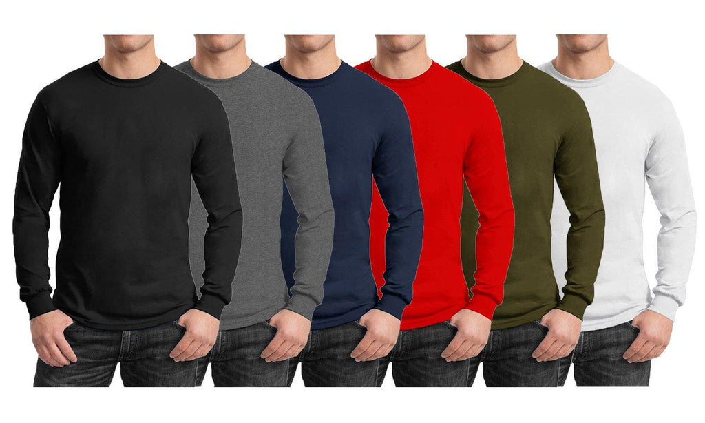 Men's Regular Fit Long Sleeve Crew Neck Tee-Daily Steals