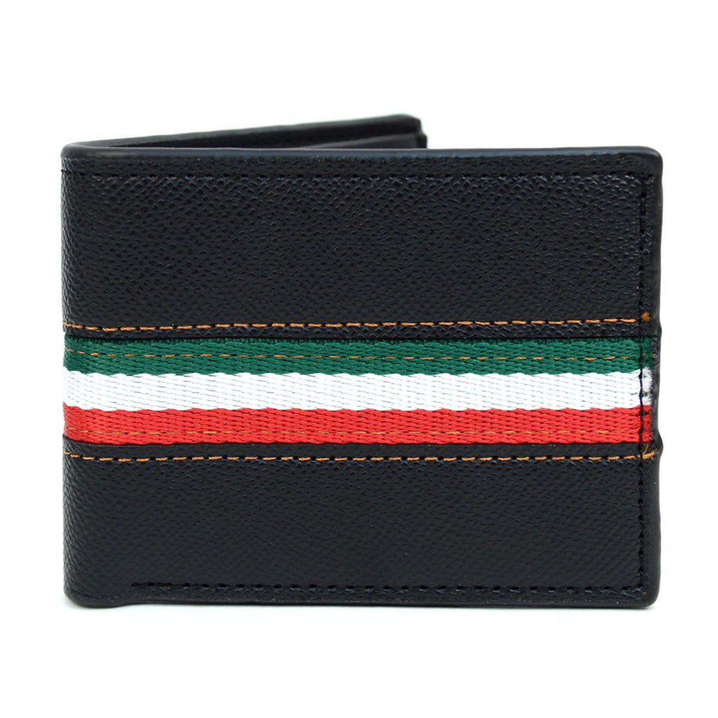 Bi-Fold Leather Wallet with Striped Decoration-Black-Daily Steals