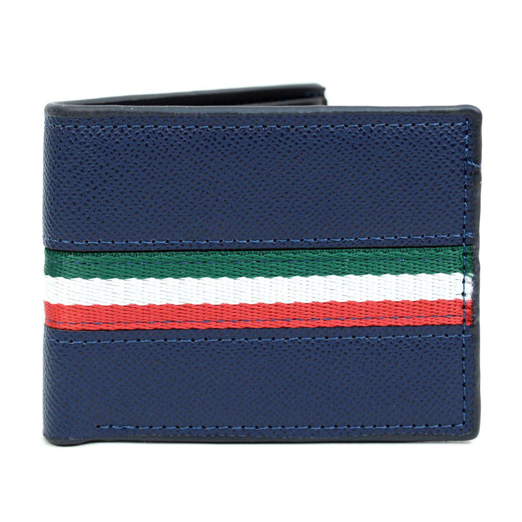 Bi-Fold Leather Wallet with Striped Decoration-Blue-Daily Steals